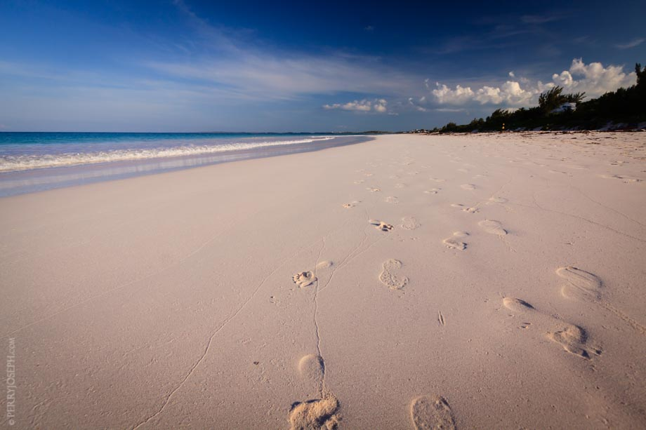 Footprints on Pink Sand Beach